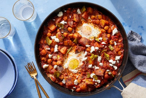 Vegetable Shakshuka with Chickpeas, Feta  & Pickled Jalapeño