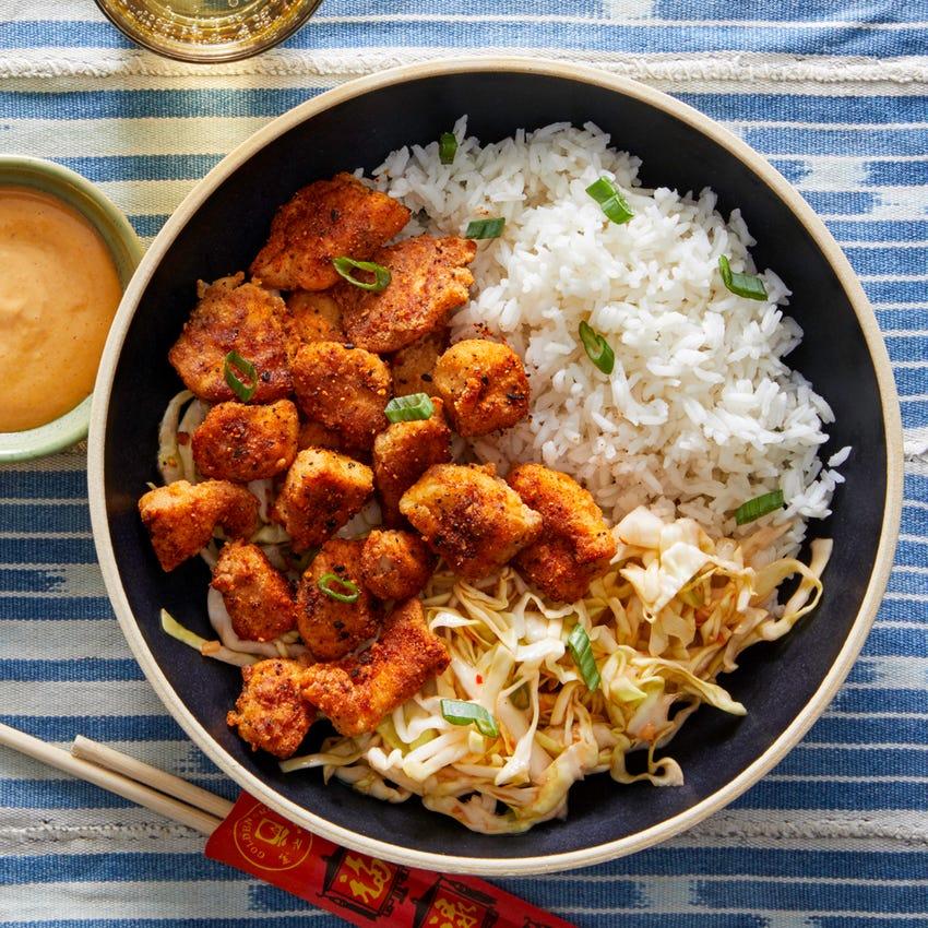Togarashi Popcorn Chicken with Sweet Chili Cabbage Slaw