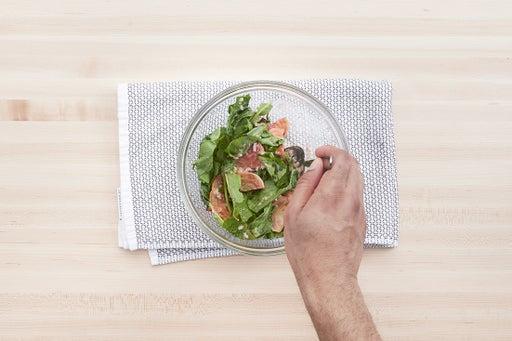 Warm the pitas & make the salad: