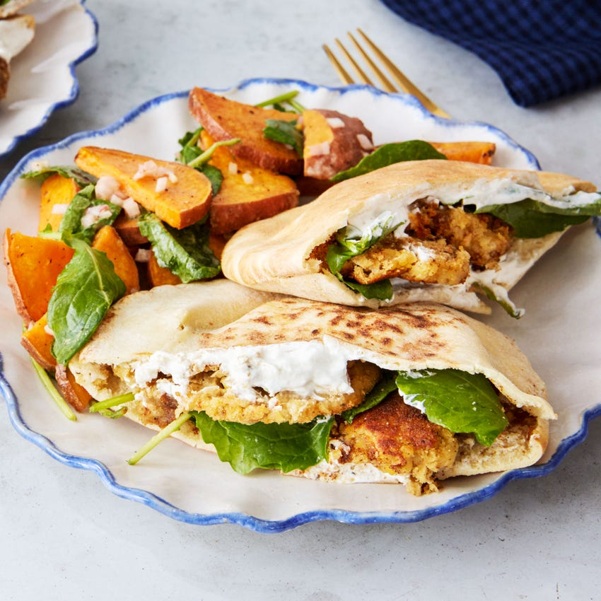 Recipe Falafel Pitas With Roasted Sweet Potato Yogurt Sauce Blue Apron