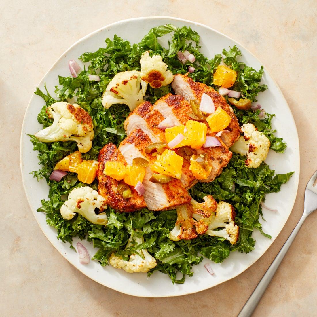 Blackened Pork Chops & Spicy Orange Salsa with Cauliflower & Kale Salad
