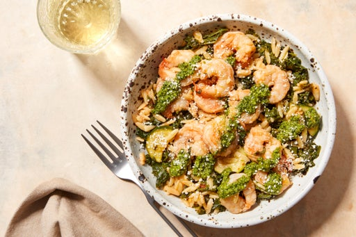 Creamy Pesto Shrimp & Orzo with Kale & Zucchini