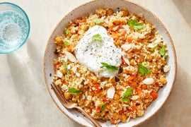 Roasted Chickpea & Freekeh Salad with Harissa-Glazed Carrots & Lemon Yogurt