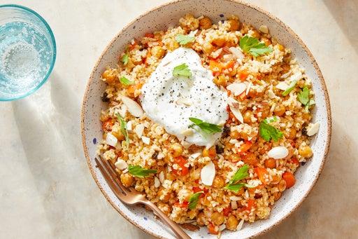 Roasted Chickpea & Freekeh Salad with Harissa-Glazed Carrots & Lemon Yogurt