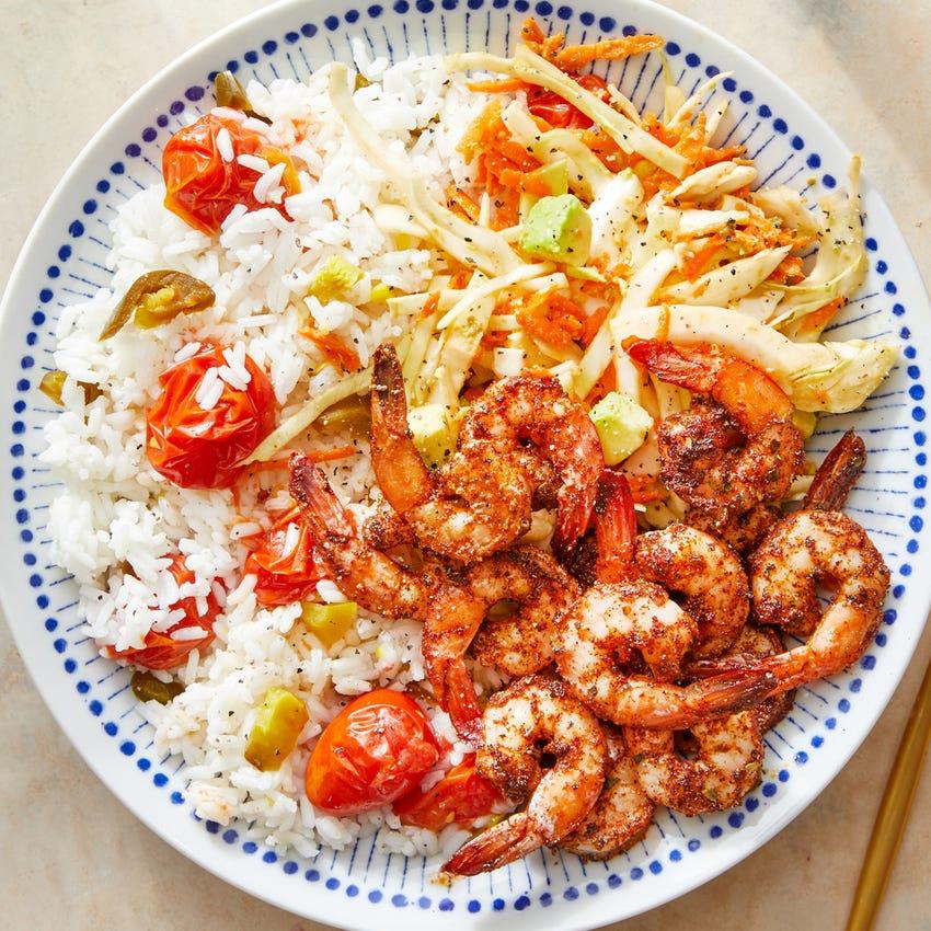 Shrimp over Tomato-Jalapeño Rice with Avocado & Cabbage Slaw