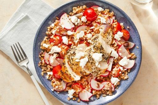 Oregano Chicken over Farro with Olives, Feta, &  Lemon-Garlic Dressing
