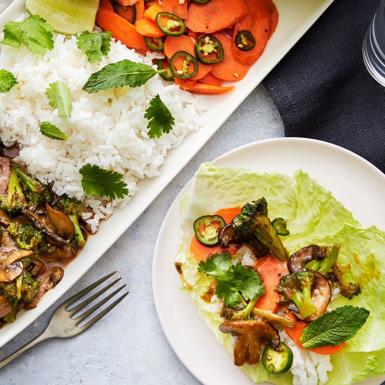 Laotian Vegetable Laab with Soy-Glazed Mushrooms & Coconut Rice