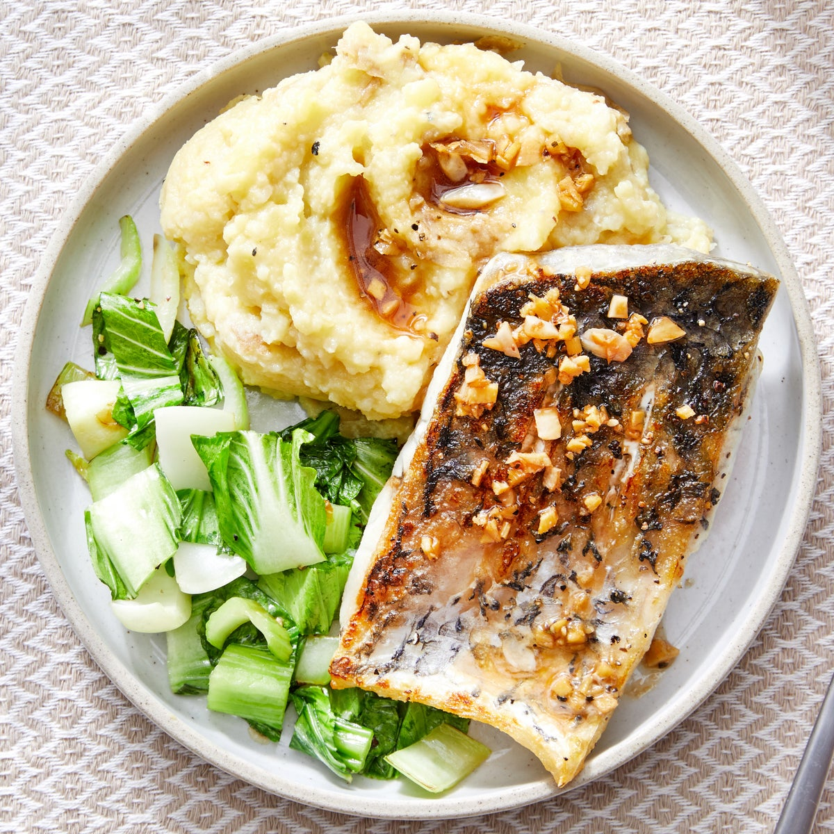 Soy-Ginger Barramundi with Miso Mashed Potatoes & Sesame Bok Choy
