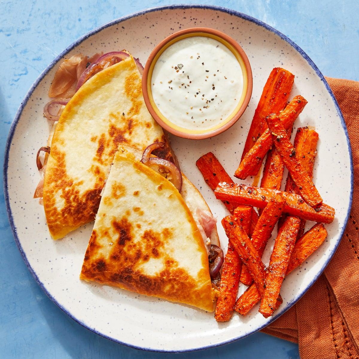Prosciutto Quesadillas with Creamy Tomatillo Sauce & Roasted Carrots
