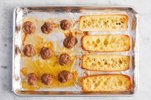 Bake the meatballs & bread: