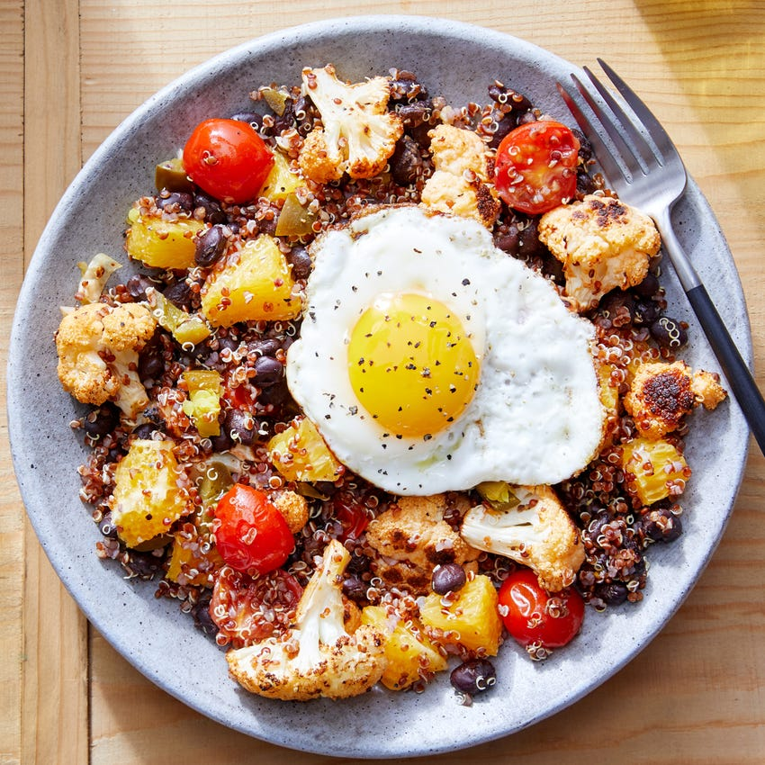 Red Quinoa & Black Bean Bowls with Chipotle-Roasted Cauliflower & Fried Eggs