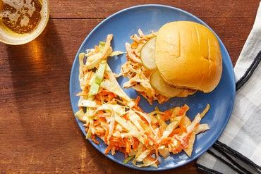 BBQ Chicken Sandwiches with Brown Sugar-Glazed Apple & Cabbage Slaw