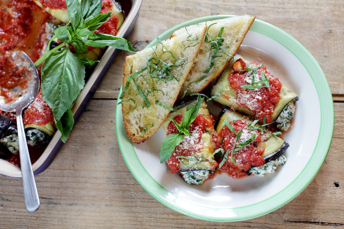 Eggplant Rollatini with Lemony Ricotta & Garlic Bread