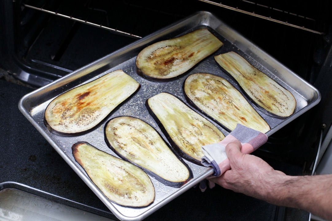 Bake the eggplant slices: