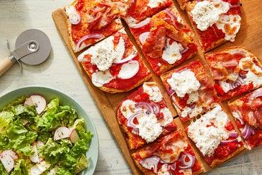 Prosciutto & Mozzarella Focaccia Pizza with Honey Ricotta & Pickled Peppers