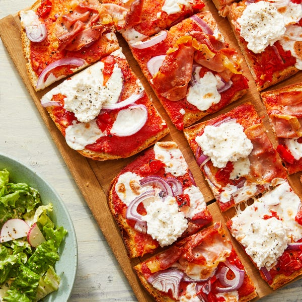 Prosciutto & Mozzarella Focaccia Pizza with Honey Ricotta & Pickled Peppers