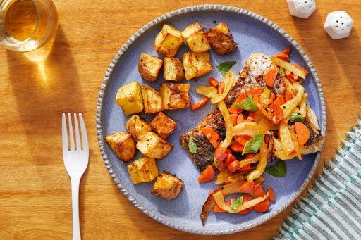Barramundi & Orange-Glazed Vegetables with Roasted Potatoes