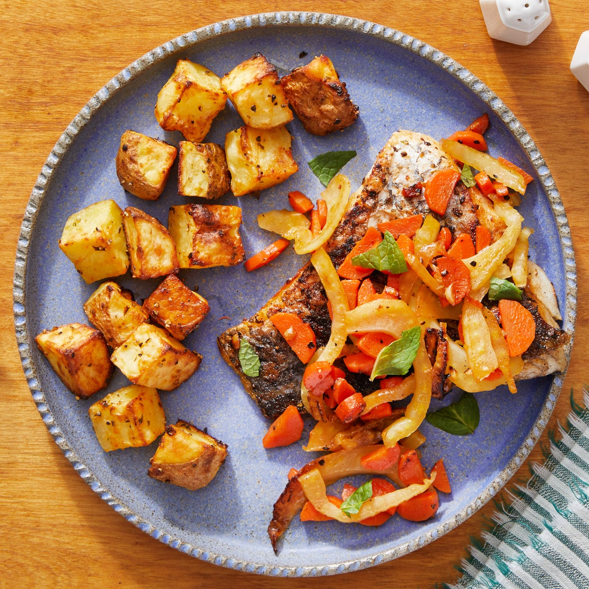 Barramundi & Orange-Glazed Vegetables with Roasted Potatoes