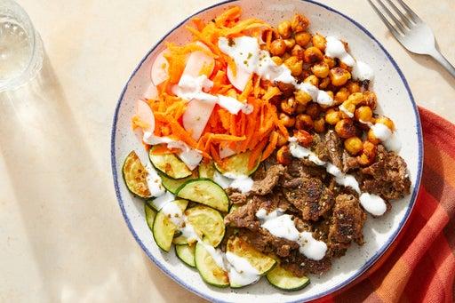 Za'atar-Spiced Beef Mezze Plate with Harissa-Roasted Chickpeas & Yogurt