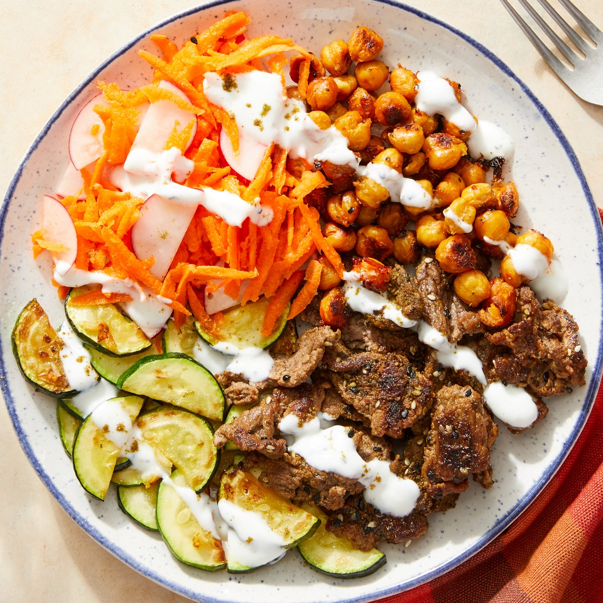 Za'atar-Spiced Beef Mezze Plate with Harissa-Roasted Chickpeas & Yogurt