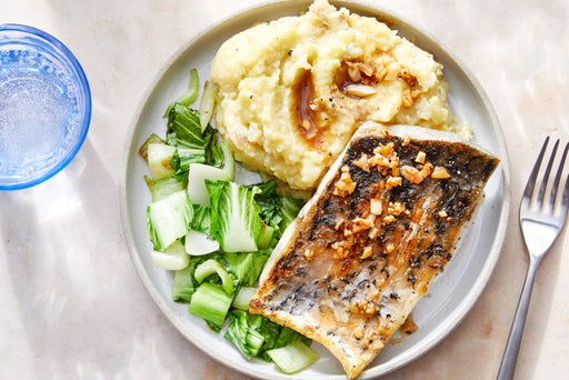 Barramundi & Sesame-Soy Pan Sauce with Miso Mashed Potatoes & Bok Choy