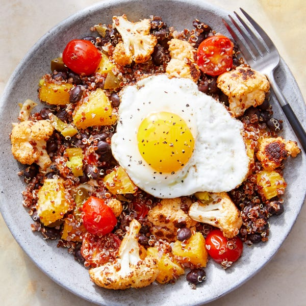 Spicy Cauliflower & Quinoa Bowls with Black Beans & Fried Eggs