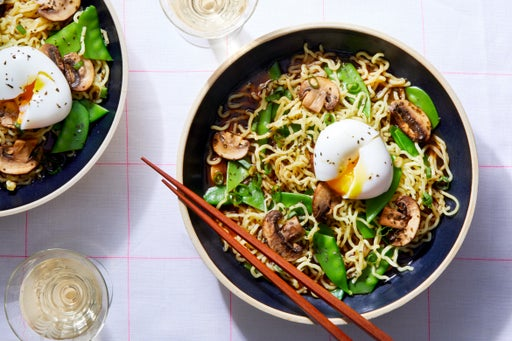 Spring Pea & Mushroom Ramen with a Soft-Boiled Egg