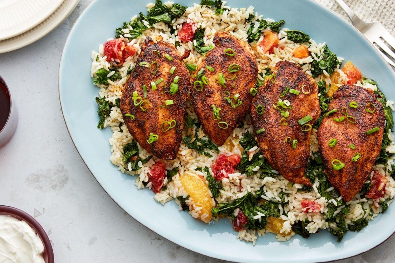 Blackened Chicken & Rice with Blood Orange & Kale