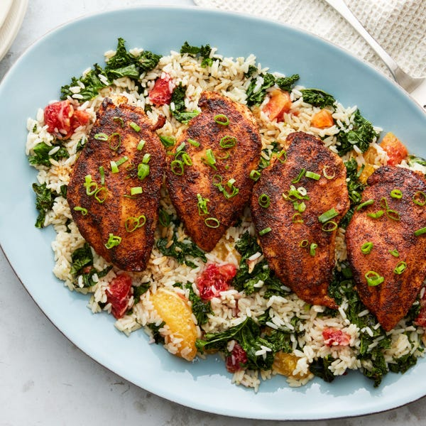 Blackened Chicken & Rice with Blood Orange & Kale