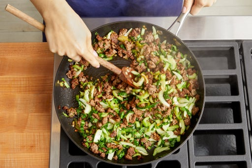 Cook the beef & bok choy: