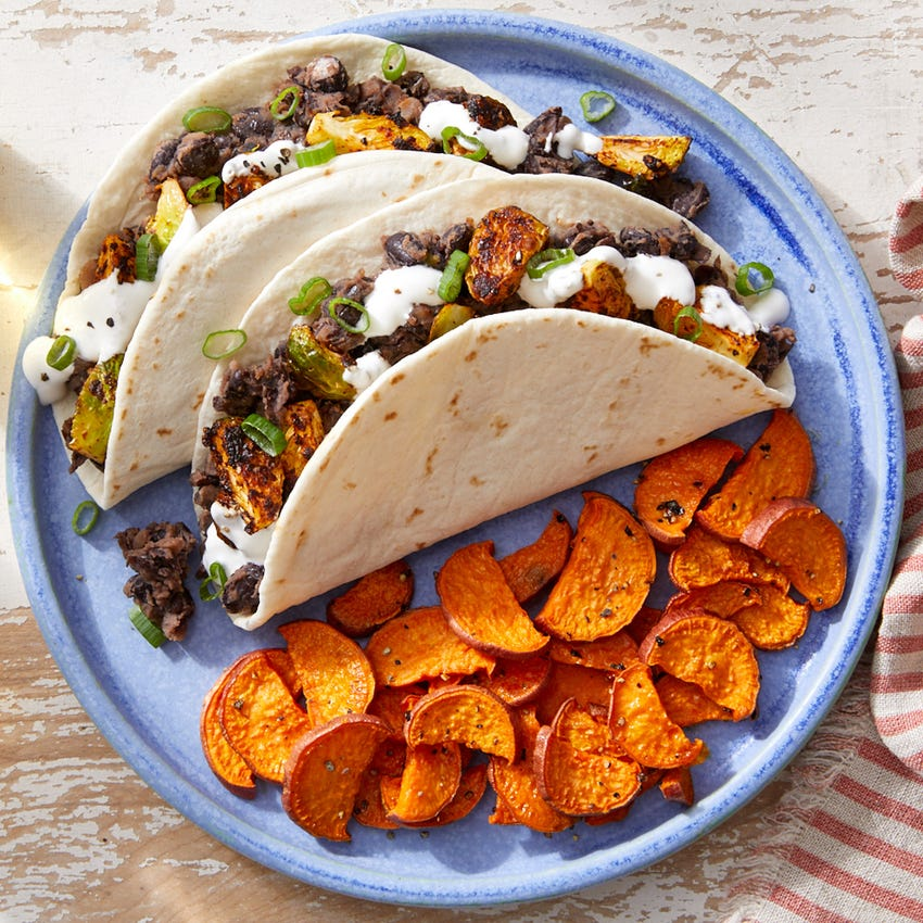 Smoky Brussels Sprouts & Black Bean Tacos with Roasted Sweet Potatoes