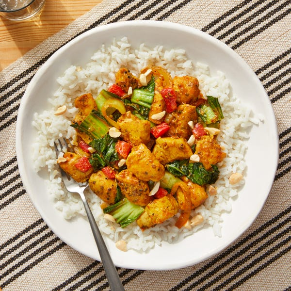 Stir-Fried Curry Chicken & Vegetables over Creamy Coconut Rice