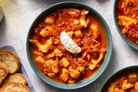 Cod & Tomato Stew with Garlic Toasts & Aioli