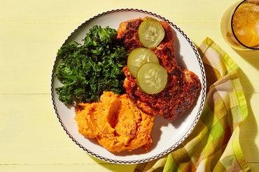 Nashville-Style Hot Chicken with Maple Kale  & Mashed Sweet Potatoes