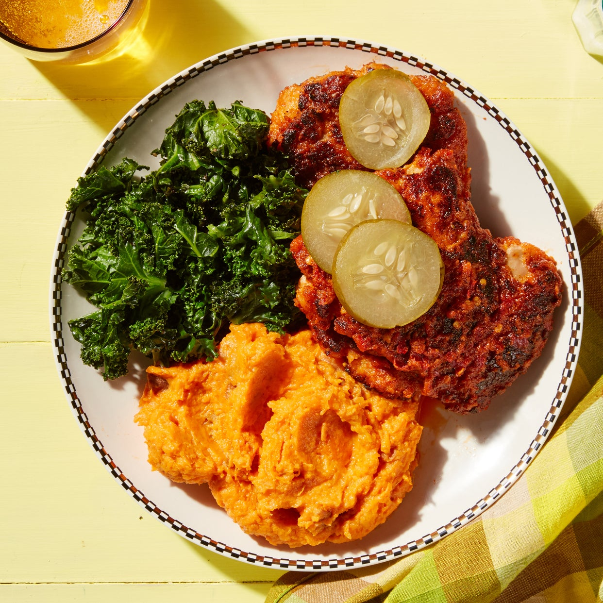 Nashville-Style Hot Chicken with Maple Kale  & Mashed Sweet Potatoes