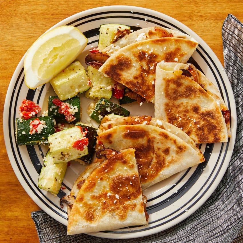 Goat Cheese & Mushroom Quesadillas with Lemon-Dressed Zucchini