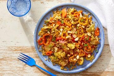 "Vegetable  & Freekeh ""Fried Rice"" with Kombu & Peanuts"