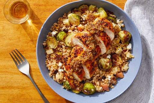 Seared Chicken & Farro Salad with Roasted Apple & Brussels Sprouts