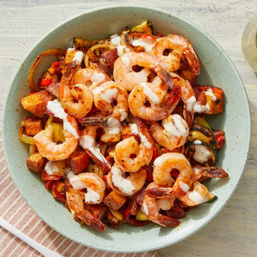Spanish-Style Shrimp & Potatoes with Lemon Aioli