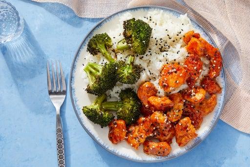Sweet & Spicy Chicken with Lemongrass Rice & Ponzu Broccoli