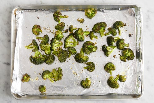 Prepare, roast & dress the broccoli: