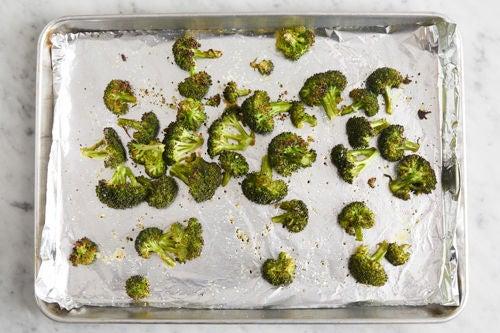 Prepare, roast & dress the broccoli: