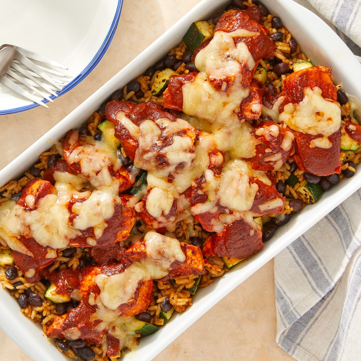 Mexican-Style Baked Chicken & Rice with Monterey Jack Cheese