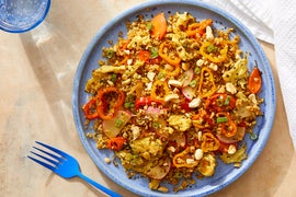 "Freekeh ""Fried Rice"" with Sweet Peppers, Carrots & Peanuts"