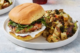 Smoky Pork Burgers with Roasted Vegetables & Piquillo Pepper Sauce