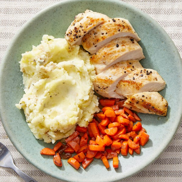 Seared Chicken & Goat Cheese Mashed Potatoes with Fig Butter-Glazed Carrots