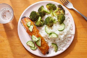 Miso-Maple Salmon with Sesame-Roasted Broccoli & Garlic Rice