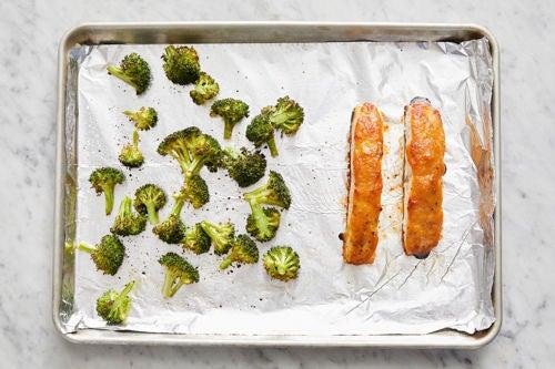 Roast the fish & broccoli: