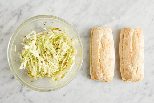 Prepare the baguettes & make the slaw: