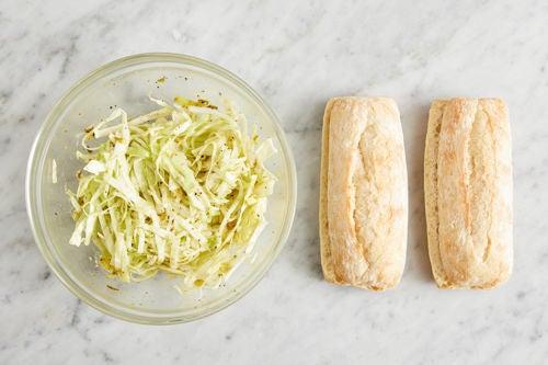 Prepare the baguettes & make the slaw:
